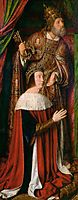 Peter II de Beaujeu of Bourbon with St. Peter -  left wing of the Bourbon Altarpiece, 1498, hey