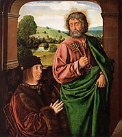 Peter II Duke of Bourbon presented by St. Peter, left hand wing of a triptych, 1498, hey