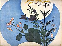 Autumn flowers in front of full moon, 1853, hiroshige