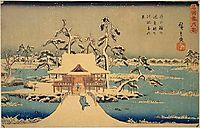 Benzaiten Shrine at Inokashira in Snow, hiroshige