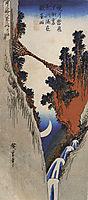 A bridge across a deep gorge, hiroshige