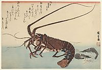 Crayfish and two shrimps, 1845, hiroshige