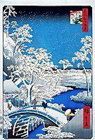 Drum Bridge and Setting Sun Hill, Meguro, c.1858, hiroshige