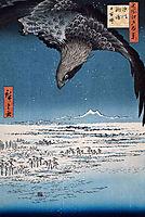 Eagle Over 100,000 Acre Plain at Susaki, Fukagawa (Juman-tsubo), 1857, hiroshige