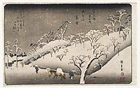 Evening Snow on the Asuka Mountain, 1841, hiroshige