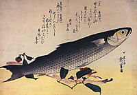 Grey mullet and camellia, hiroshige