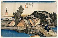 Hodogaya, Shinkame Bashi, Station 5 , 1834, hiroshige