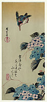 Hydrangea and Kingfisher, hiroshige