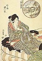 In circle, figure piece, (Outdoor) , 1821, hiroshige