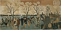 Japanese triptych print showing Japanese and foreign people walking along the Sumida River among cherry trees in full bloom, hiroshige