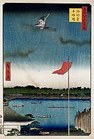 Komokata Hall and Azuma Bridge, 1857, hiroshige