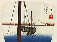Mount Fuji seen across the water, hiroshige