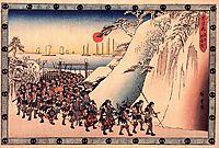 Ronin Enter Sengakuji Temple to Pay Homage to Their Lord, Enya, hiroshige