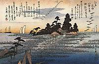 A shrine among trees on a moor , hiroshige