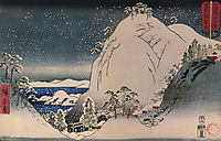 Shrines in snowy mountains, hiroshige