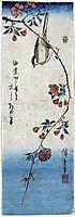Small Bird on a Branch of Kaidozakura, 1848, hiroshige
