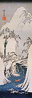A snowy gorge, hiroshige