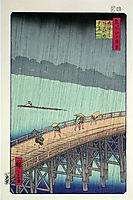 Sudden Shower over Shin-Ohashi Bridge at Atake, 1856, hiroshige