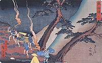 Travellers on a Mountain path at night, hiroshige