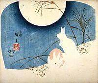 Untitled (Two Rabbits, Pampas Grass, and Full Moon), 1851, hiroshige
