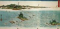 Whirlpools on a rocky coast, hiroshige