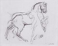 Cavalryman striding a horse , 1908, hodler