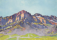 The Dents Blanches in Champéry at the morning sun, 1916, hodler