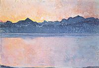 Lake Geneva with Mont Blanc in the morning light, 1918, hodler