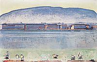 Lake Geneva with six swans, 1914, hodler
