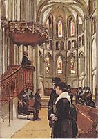 Prayer in the Saint Pierre Cathedral in Geneva, 1882, hodler