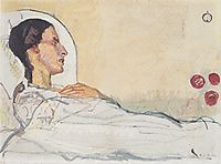 Valentine Gode Darel in hospital bed, 1914, hodler