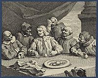Columbus Breaking the Egg (Christopher Columbus), 1752, hogarth