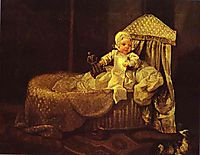 Gerard Anne Edwards in His Cradle , 1733, hogarth