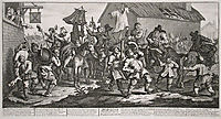Hudibras Encounters the Skimmington, from -Hudibras-, by Samuel Butler, 1726, hogarth