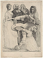 John Henley with five unknown figures, hogarth