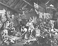 Strolling Actresses Dressing in Barn, 1738, hogarth