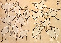 Cranes from Quick Lessons in Simplified Drawing, 1823, hokusai