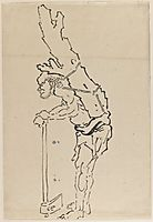 Drawing of Man Resting on Axe and Carrying Part of Tree Trunk on His Back, hokusai