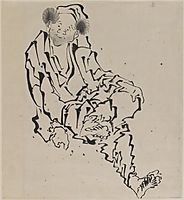 Drawing of Man Seated with Left Leg Resting over Right Knee, hokusai