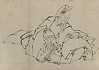 Drawing of Seated Nobleman in Full Costume, hokusai