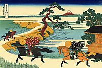 The Fields of Sekiya by the Sumida River, 1831, hokusai