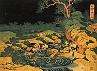 Fishing by Torchlight in Kai Province, from Oceans of Wisdom, c.1833, hokusai