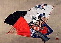Five fans, hokusai