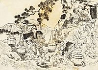 Four women working very hard and carrying vats of water, hokusai