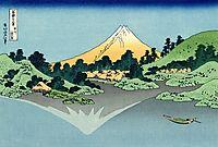The Fuji reflects in Lake Kawaguchi, seen from the Misaka pass in the Kai province, hokusai