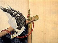Hawk on a ceremonial stand, hokusai