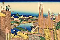 Honjo Tatekawa, the timberyard at Honjo, hokusai