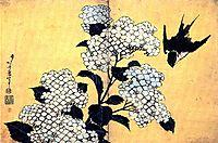 Hydrangea and Swallow, hokusai