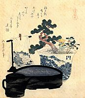 A lacquered washbasin and ewer, hokusai