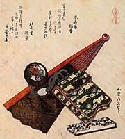 A leather Pouch with kagami, hokusai